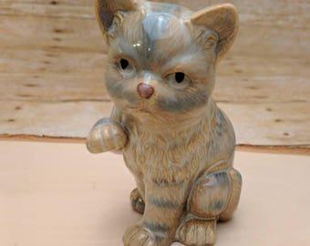 Vintage Ceramic Kitty Cat Blue White 80s