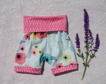 Girls shorts, high-waisted shorts, Flowers