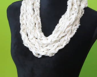 Ivory Chain Crochet Necklace Scarf