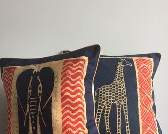 Set of 2 Pillows, Mix & Match Pillows, African Pillow, Boho Pillow, Tribal Pillow, Decorative Pillow, Sadza Batik, Elephant, Giraffe Pillow