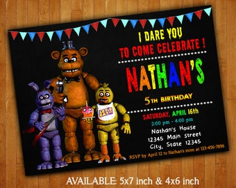 Five Nights At Freddy's Invitations / Five Nights At Freddy's Birthday Party Invitation / Five Nights At Freddy's Printable / FNAF