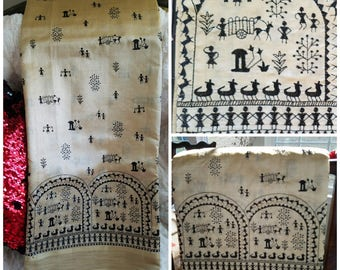 Cream and black Warli print