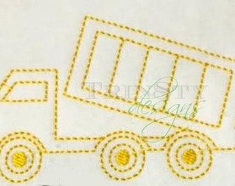 Vintage Dump Truck Quick Stitch Embroidery Design
