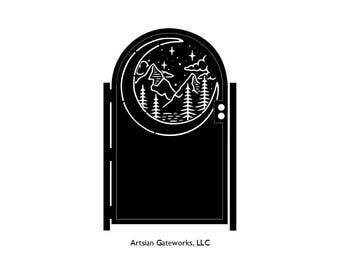 Decorative Night Sky Steel Gate - Scenic Gate - Moon Mountain - Scenic Steel Art - Metal Art - Mountain Gate - Security Door - Nature Gate