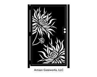 Metal Art Gate with Flowers - Chrysanthemum Gate - Decorative Steel Flower Panel - Wall Panel - Floral Steel Art - Floral Gate