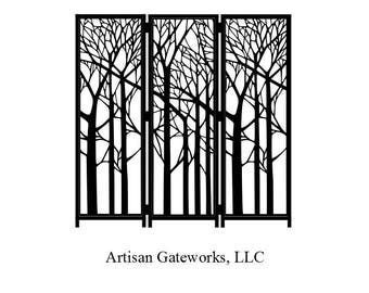 Decorative Room Divider - Enchanted Forest - Privacy Screen - Steel Panel Room Divider - Custom - Handmade