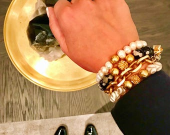 Tibetian agate black and white semi precious gemstone / handmade jewelry / silver and 22k gold plated accent beads
