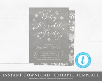 Baby It's Cold Outside Baby Shower Invitation Card | Instant Download, Editable, Printable | Little Snowflake is on the way | DC011