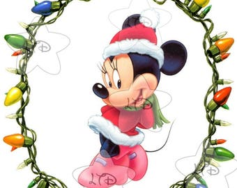 Minnie Christmas Lights Iron On Transfer