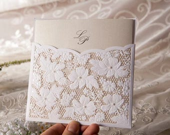 Laser Cut Victorian Lace Ribbon Wedding Invitations with intricate fold outs – Vintage & Romantic