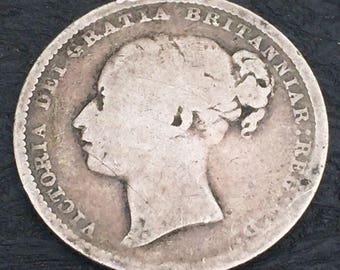Queen Victoria 1880 Young Head one shilling coin .925 silver