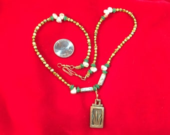Pearl Necklace with Bronze Pendant 2
