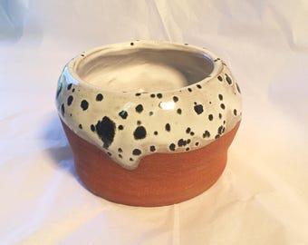 Black and White Speckled Ceramic Bowl
