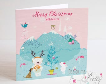 Cute Polar Bear Christmas Card - Personalised with Childs name and relationship