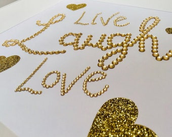 Handmade Personalised diamonte and gem frame. Live, Laugh, Love. Would make a perfect gift. Gold glitter stars, gold gems.