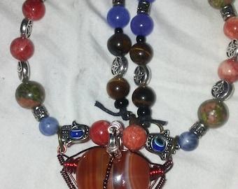 Carnelian heart beaded necklace