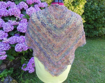Women shawl knit multicolored hands