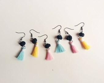 Knot Pastel Tassle Earrings