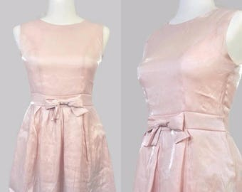 Vintage 1960s Pink Shiny Bow Mini Party Skater Fit & Flare Pleated Dress Sleeveless Small Baby Pink