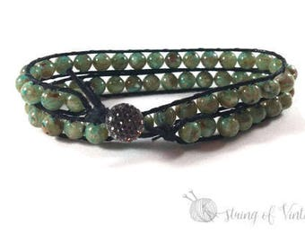 Beaded Stackable Bracelet - Personalized Gift - Boho Chic - Green -Black