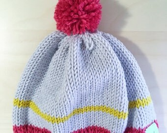 Bonnet en laine mérinos Oeko-Tex à pompon chanvre, framboise et jaune