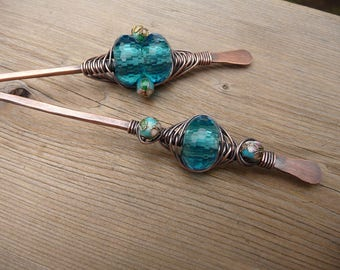 decorative hair sticks for buns, womens hair accessories, blue beaded cloisonne hairstick jewelry bun holder, hair chopsticks, thick hair