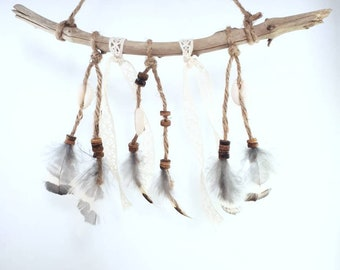 Driftwood Native American dream catcher wall hanging
