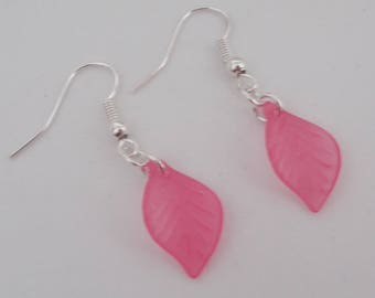 Cerise Pink Leaf Earrings.