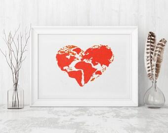 Map Art, Globe, Wall art, Printable art, Wall decor, red heart,  World, Global Love, Love Globally