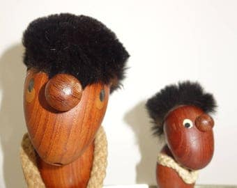 Marked Hans Boling Optimist & Pessimist teak figurine
