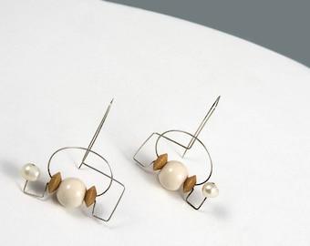 Pearl earrings, Glass earrings, Wood earrings, Silver earrings, Wood jewelry, Glass jewelry, Handmade jewelry, Pearl jewelry, Silver jewelry