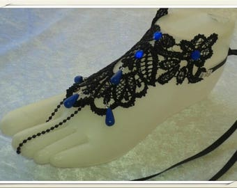 stunning jewelry foot Black Lace and blue beads