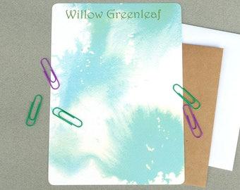 Contemporary Personalized Stationary Set, Custom Women's Flat Note Card Stationery Set, Modern Personalized Note Cards, Correspondence Cards