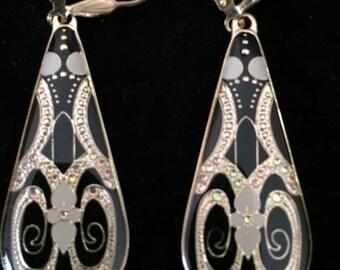 Gold Dangle Earrings, Art Deco Style, Black, Teardrop, 1.75 Inch Drop Earrings, Handmade, Statement Earrings, Gift Wrapped, Bridesmaid Gift