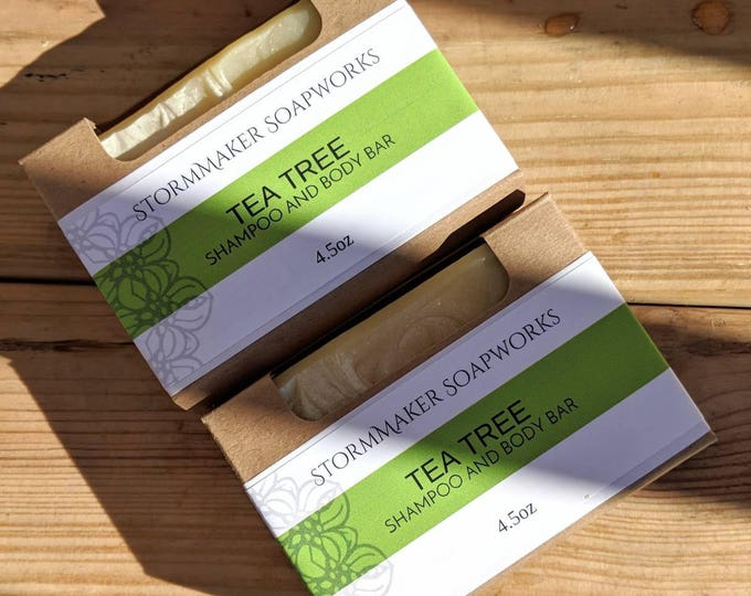 Featured listing image: All Natural Tea Tree Shampoo and Body Bar, Herbal Bath Bar, Soothing, Moisture Loving, Palm Free