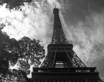 Eiffel Tower, Paris, France, Travel, Fine Art Photography, Black and White Photography, Champ de Mars