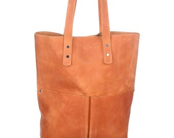 Leather bag, leather bag woman, handmade leather bag, medium-size leather bag, shoulder bag leather, leather bag camel, Claire - camel!
