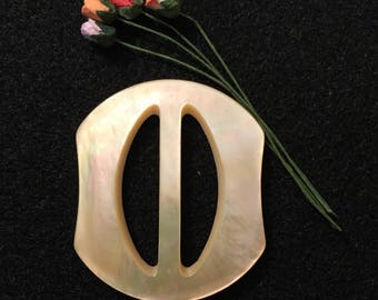 Vintage Buckle - Mother of Pearl Buckle, Unusual Shape