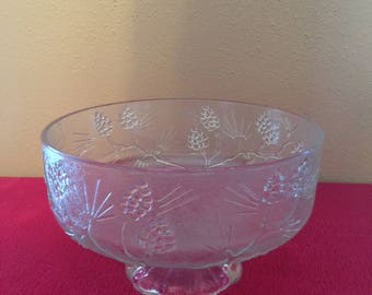 Indiana Glass Company - Tiara Exclusives -  Ponderosa Pine - Large Salad/Serving Footed Bowl