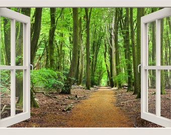 Path To The Forest Wall Decal, Forest Wall Sticker, 3d Window View Nature  Wall Part 96