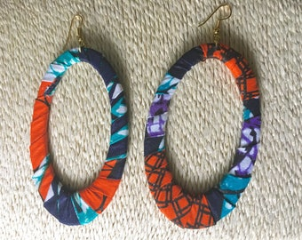 African fabric hoop earrings for all occassions!