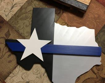 Wooden Texas Thin blue line