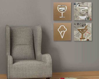 Ice cream - Cardboard furniture, food sign, sign in board, sign for kitchen, door sign, home sign, collage | Tropparoba - 100% made in Italy