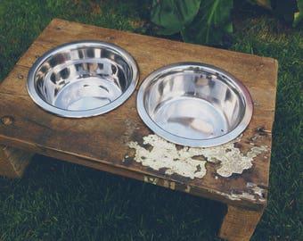 Reclaimed Floor Board Raised Dog Bowl Stand/Feeder