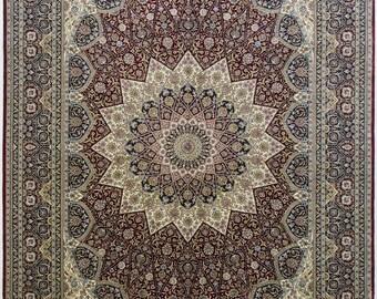 Collectible Pure Handmade Silk Persian Rug 5.5 x 8ft (168 x 243cm)  16knots/cm (1735kpsi)