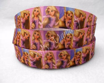 "Rapunzel from Tangled Disney Princess on White 7/8"" Grosgrain Ribbon by the yard. Choose 3,5, or 10 yards. Long Haired Disney Princess"
