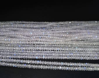AAA 100% Natural White Rainbow Moonstone Faceted Rondelle Beads Strand 2.5-3 or 3.5-4mm | Rainbow | blue flashy rainbow moonstone | Gemstone