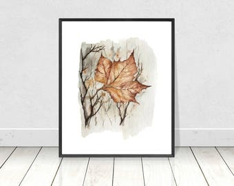 Fall Maple Leaf Printable Artwork of Original Watercolor Painting- Abstract Bohemian Fall Inspired Nature Print- Cozy Home Decor- Wall Art