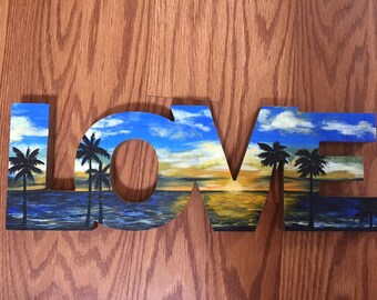 LOVE tropical beach sunset