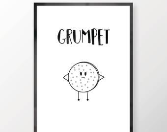 Funny Grumpet Illustration Wall Print - Wall Art, Bedroom Print, Funny Print, Grumpet Print, Humour Print, Home Decor